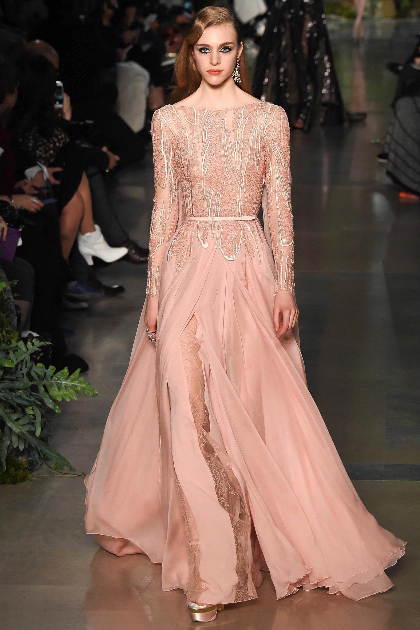 2016 Elie Saab Nueva Sheer mangas largas vestidos de noche de encaje con cuentas Top gasa Split piso longitud Formal Prom Vestidos