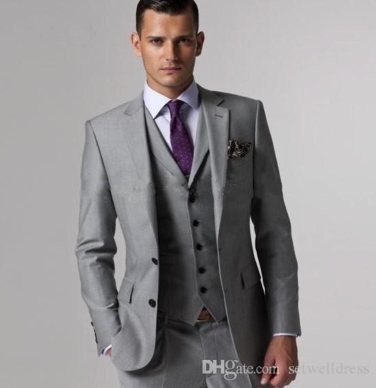 High quality Custom Made Grey Wedding Suits Groom Tuxedos Slim Fit Suit handsome Formal Suits Groomsman Pants (Jacket+Pants+Vest)