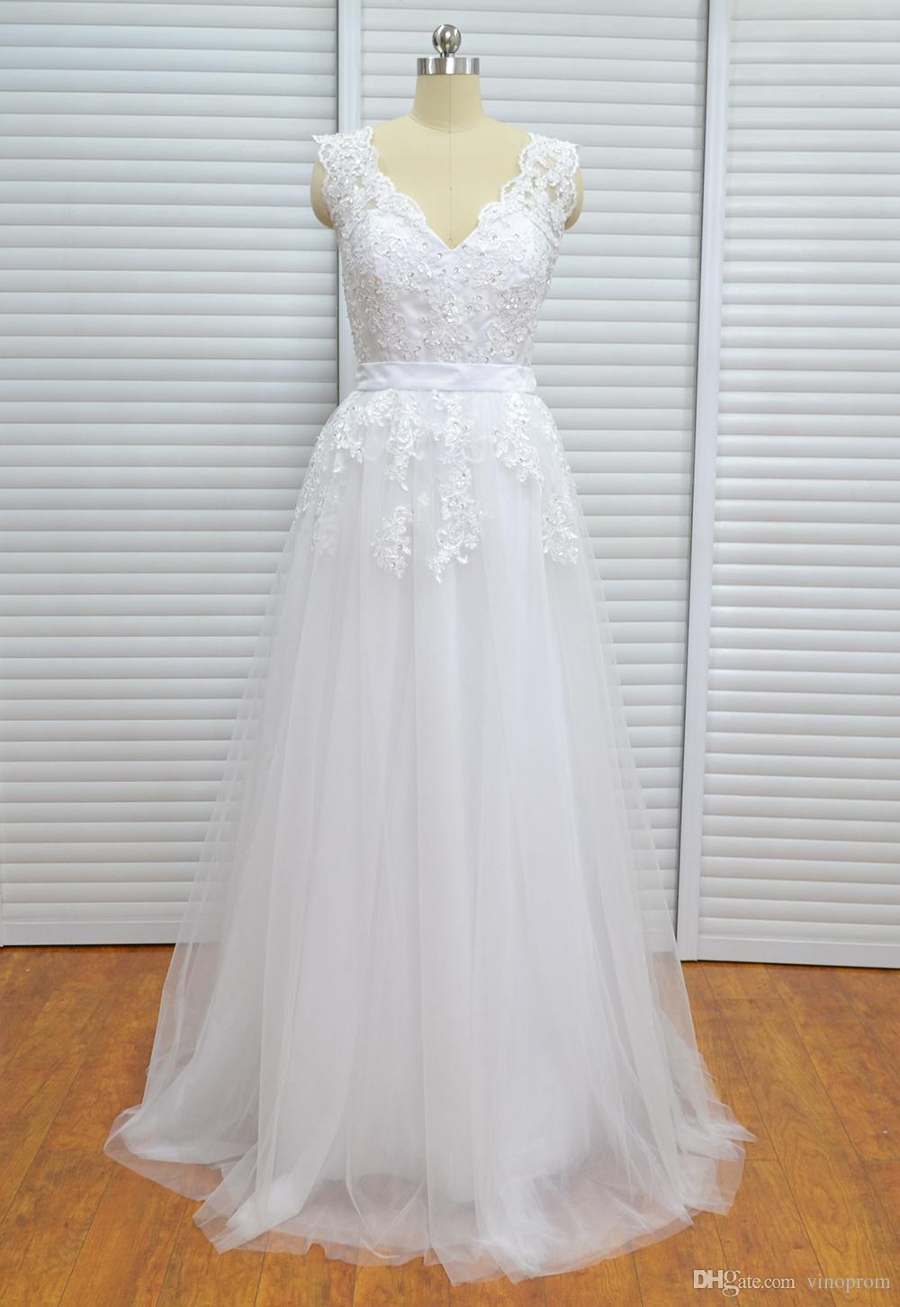 Vinoprom Real PhotoA-line con scollo a V in tulle perline di pizzo maniche maniche abito da sposa sirena sposa abiti da sposa Under 200