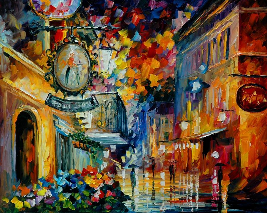 Free Shipping no frame on Canvas Prints Russian Federation Oil Painting flower tree leaf Bridge street lamp Umbrella pedestrian city house