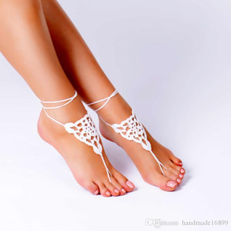 Crochet Black Barefoot Sandals, Foot jewelry, Bridesmaid accessory, Barefoot sandles, Anklet, Wedding shoes, Beach Wedding, Summer shoes