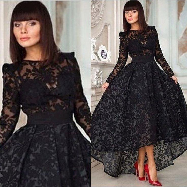 2015 Abendkleider Schwarz Spitze Eine Linie Mit Langarm Hallo-Lo Juwel Ausschnitt Formale Abendkleider arty Besondere Anlässe