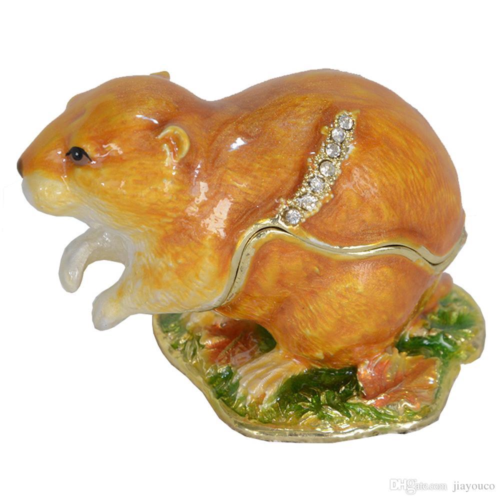 Лемминг животных тринкера ювелирные коробки коллекционные животные фигурка металлические декор подарки