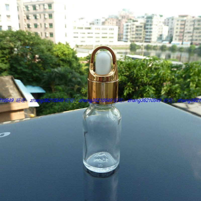 15ml 투명 / 투명 유리 에센셜 오일 병 알루미늄 바구니 광택이있는 스포이드 캡, 에센셜 오일 용기
