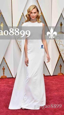 2019 Elegant Long Formal Evening Prom Caped White Oscars Dresses Party Evening Floor Length Cheap Women Dress