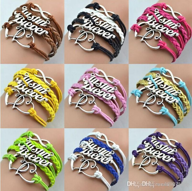 Infinity Woven Bracelet Fashion Multicolor Multi-Layer Double Heart Leather Charm Bracelets Handmade Weaves Justin Bieber Bracelet