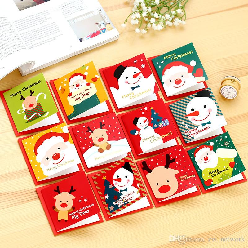 12pcs/lot Cute Cartoon Christmas Card Mini Greeting Card Sets Message Blessing Card with Envelopes