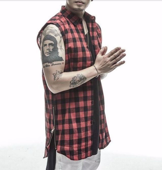 2016 plaid Hip Hop Men Shirt Chris Brown oversized Gold Side Zipper Extended Plaid shirt men casual Red Sleeveless tee shirt (1)