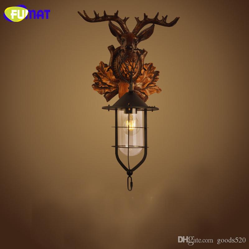 FUMAT Wandleuchten Deer Head Wandleuchte American Country Nachttischlampe Vintage Industrial Ailse Luminaria Wandleuchte