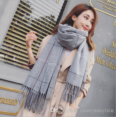 2018 sonbahar ve kış yeni Kore versiyonu büyük kafes eşarp erkekler ve kadınlar severler çift taraflı püskül Eşarp Şal toptan