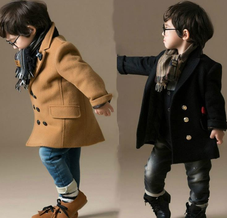 100% high quality discount price variety of designs and colors Boys Woollen Coat Winter Kids Wool Blends Overcoat Double Breasted Children  Cotton Thick Outerwear Tweed Coats Black Khaki Kids Winter Coat Girls Wool  ...
