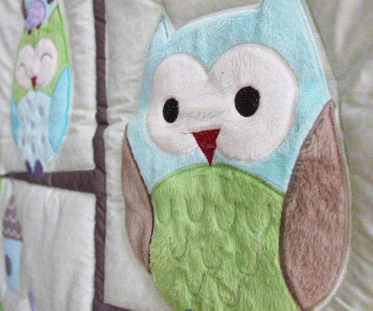 Sale!7Pcs Baby bedding set Embroidery cartoon owls bird hedgehog squirrel Crib bedding set 100% cotton including Baby Quilt etc Cot bedding