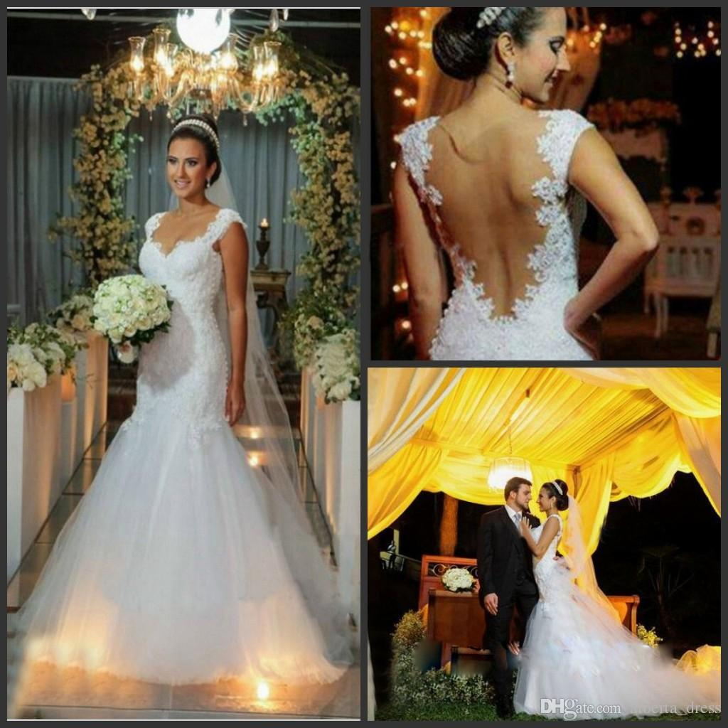 Classic White Luxury Lace Mermaid Abiti da sposa Inbal Dror Sexy Backless Abiti da sposa Appliques in rilievo cappella treno Abiti da sposa