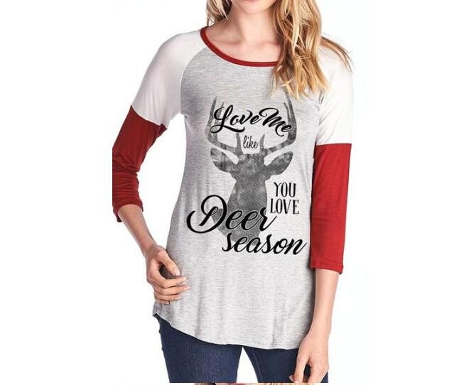 Holiday Tops Women Christmas Fashion Letters Deer Printed Love Tshirts Long Sleeved Colors Patchwork Tees Design And Order T Shirts Gag T Shirts From Cinda01 20 91 Dhgate Com