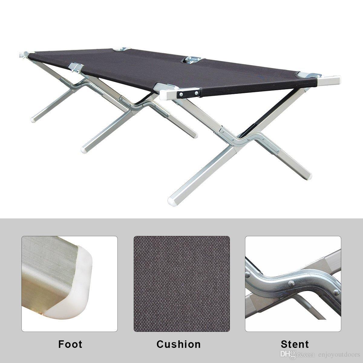 Portable Folding Camping Cot Military Grade Aluminum Frame For Base  Camping
