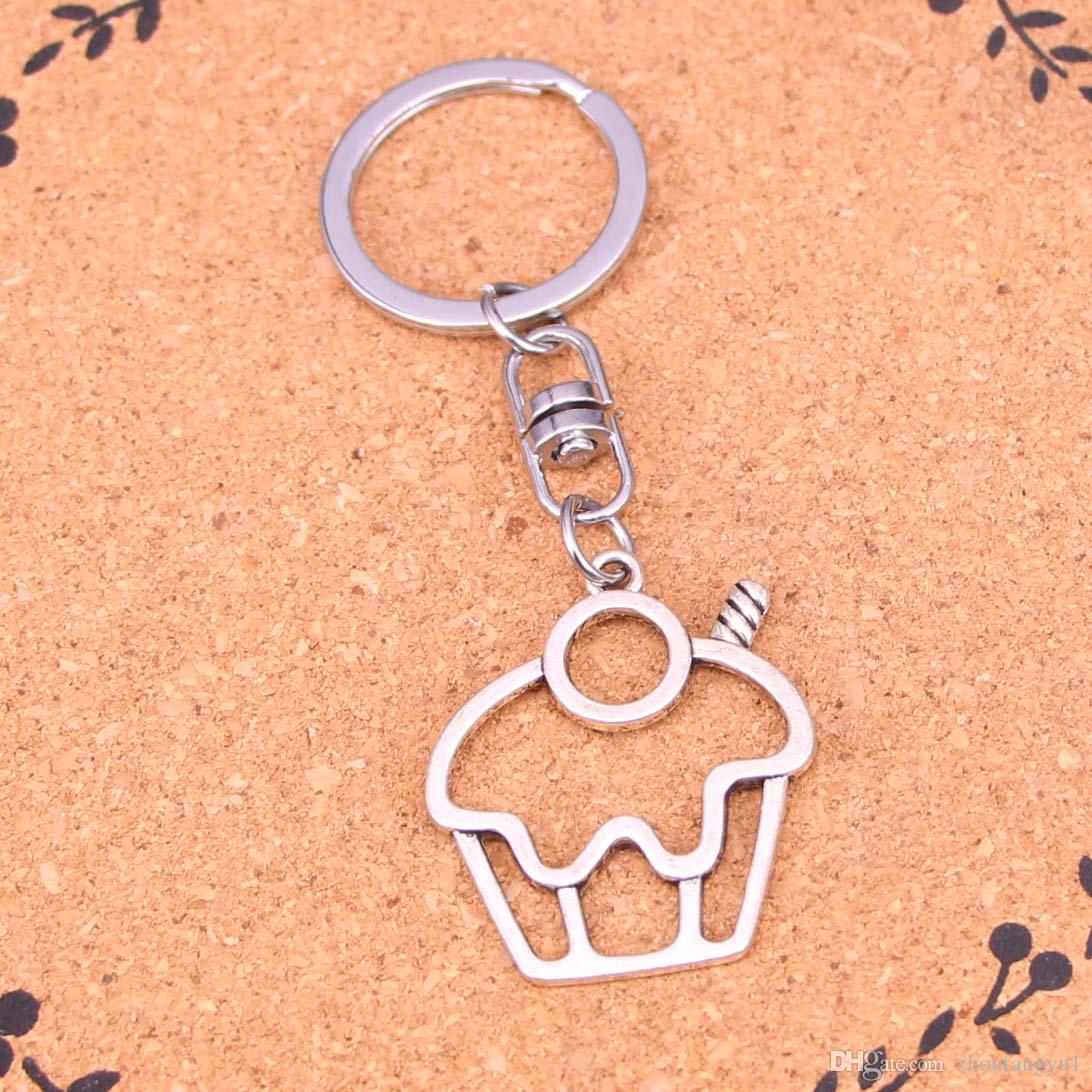 New Arrival Novelty Souvenir Metal cake cupcake Key Chains Creative Gifts Apple Keychain Key Ring Trinket Car Key Ring