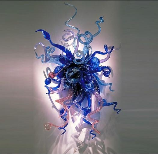 Moderne Murano Glas Chihuly Stil Wandleuchten Blau Glas Hotel Wandkunst Dekoration Beleuchtung Günstige Hotel Glas Wandleuchte Blume Decaration