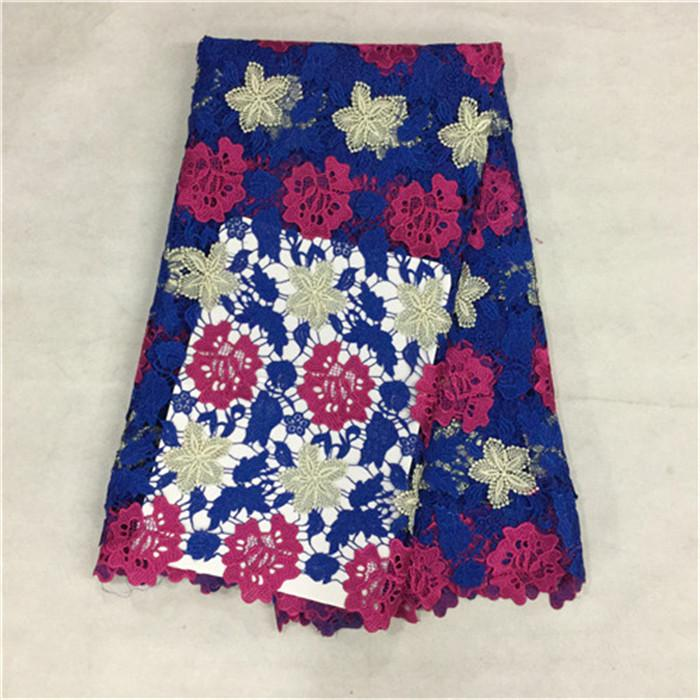 (5yards/pc)Wonderful three color design embroidery African lace fabric with water soluble flower lace for dress BW96-4