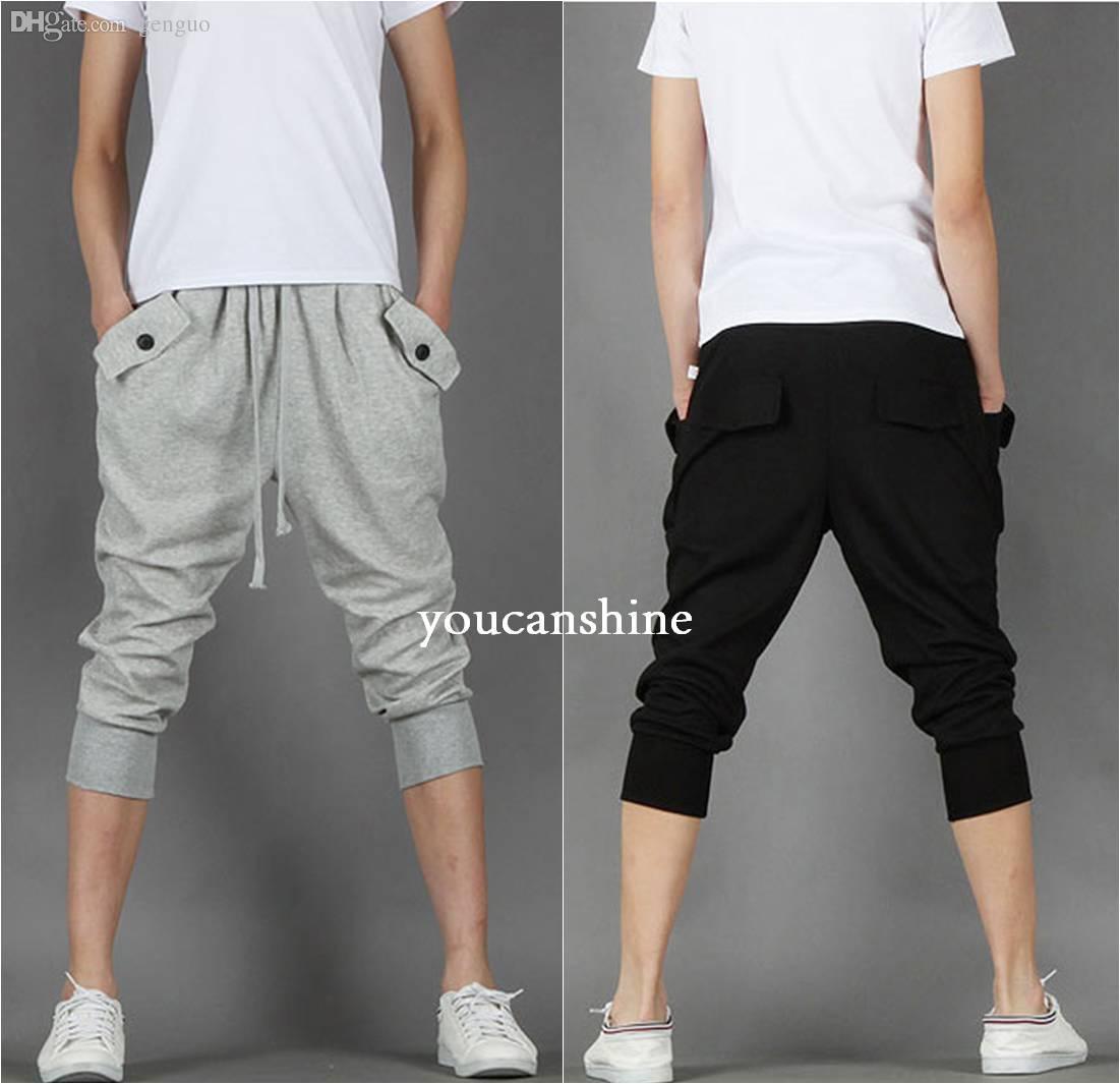 Vente en gros-Nouveaux hommes de mode polaire occasionnels Capri Jogger Sports Baggy Harem Lâche Plus la taille pantalon court Hip Hop poches de corde