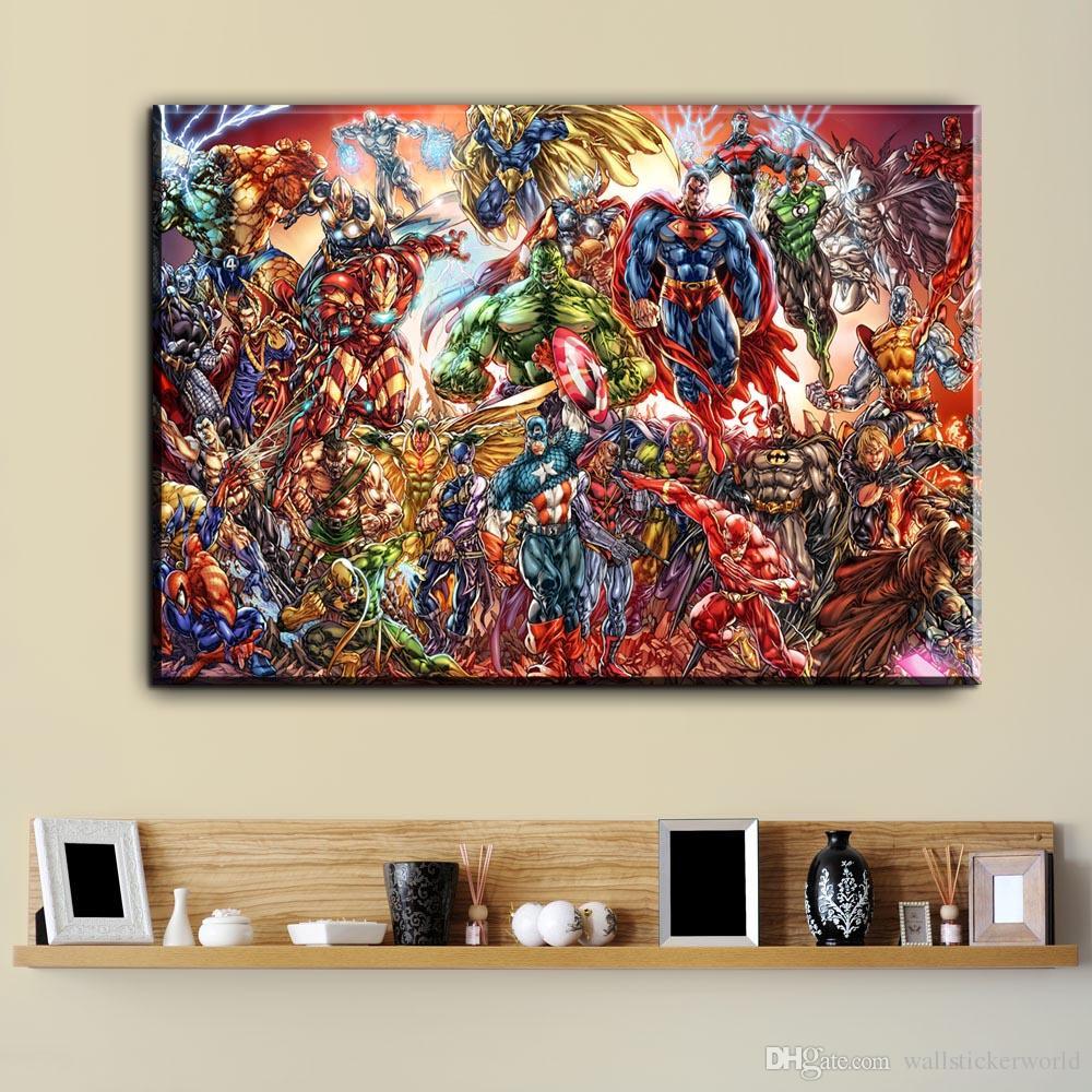 Großhandel 1 Stücke Aquarell Superhero Avenger Film Leinwand Kunst ...