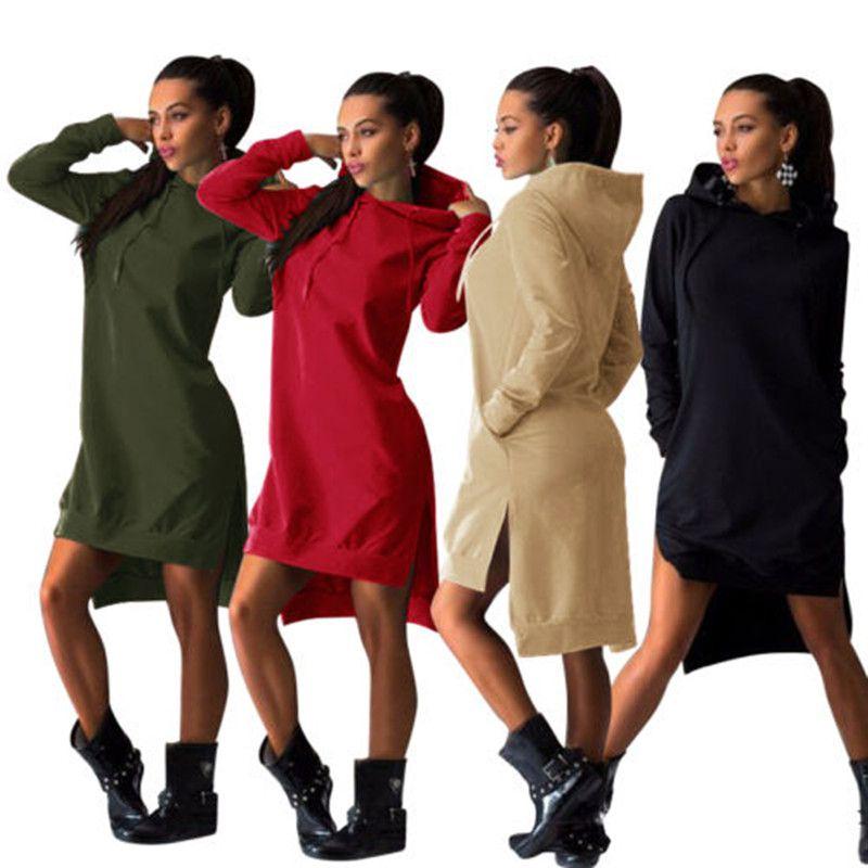 봄 가을 여성 짧은 드레스 빈티지 캐주얼 스포츠 드레스 긴 소매 섹시 분할 앙 까마귀 스웨터 무료 배송 탑 포켓
