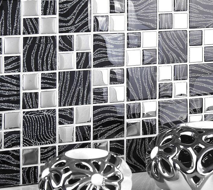 Mosaico de cristal Mosaico de Metal telhas de fundo TV telhas de parede mosaico montado malha