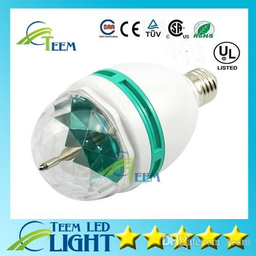 Epcket 무료 배송 3 와트 E27 RGB 조명 풀 컬러 LED 크리스탈 무대 조명 자동 회전 무대 효과 DJ 램프 미니 무대 전구