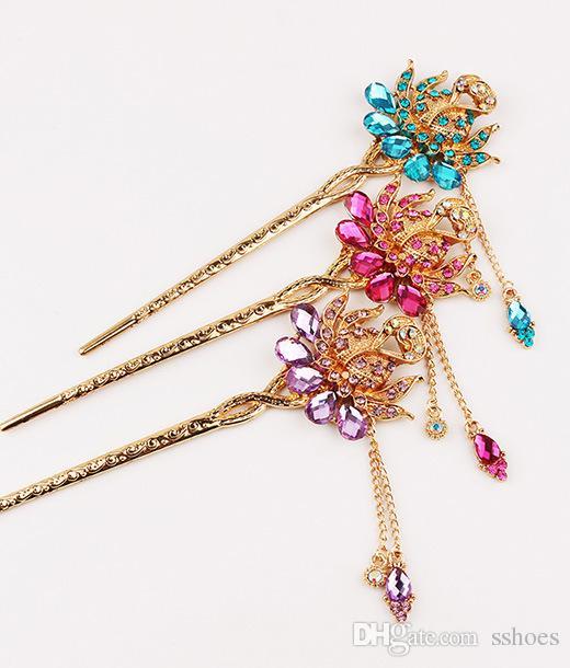 Crystal Peacock Hair Stick Bride Hair Jewelry Headpieces Fashion Rhinestone peacock hair pins golden hairpin for women