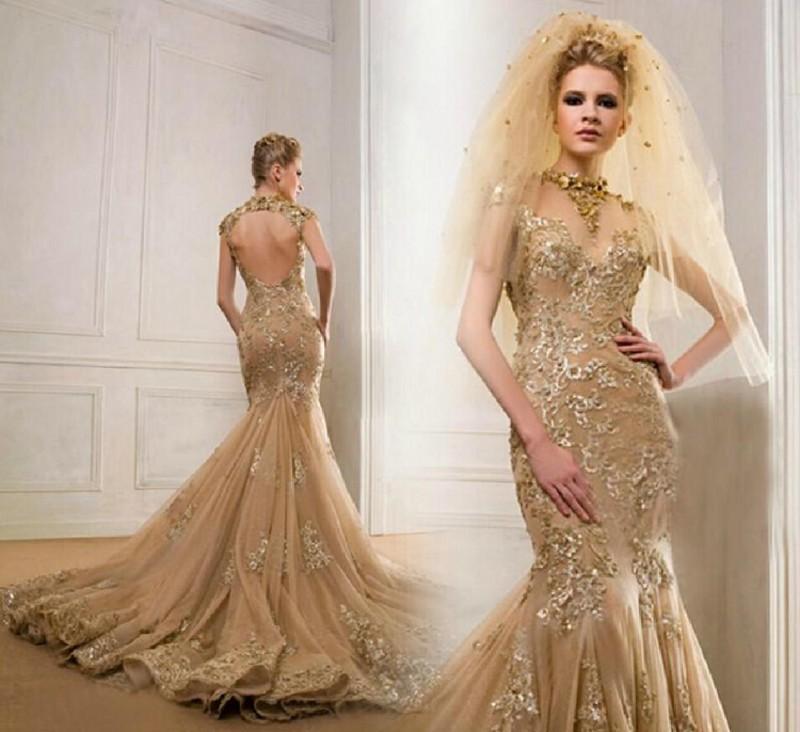 Vestidos de noche sin espalda con cuello alto de tul dorado con apliques sirena Capilla Tren Mujeres de lujo Vestidos de desfile 2016 Vestidos de manga corta