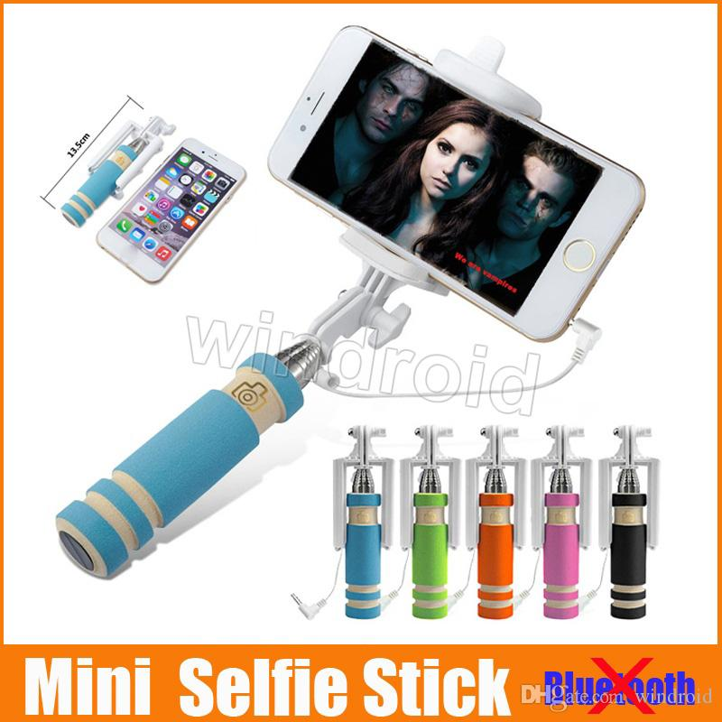 Portable Mini Selfie Stick Cell Phone Clip Holder All IN ONE Cable Take Pole Wired Control Monopod For iPhone Samsung Free shipping 100pcs