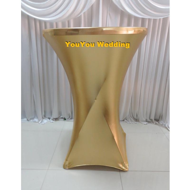 10 pcs Free Shipping 80cm Dia* 110 cm Tall Gilded Gilt Metallic Bronzing Elastic Spandex Strech Cocktail Table Cover Cloth