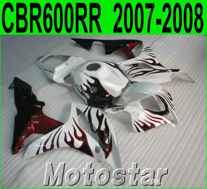 Injection molding motobike set for HONDA CBR600RR fairings 07 08 red flames in white ABS fairing kit CBR 600RR F5 2007 2008 KQ71