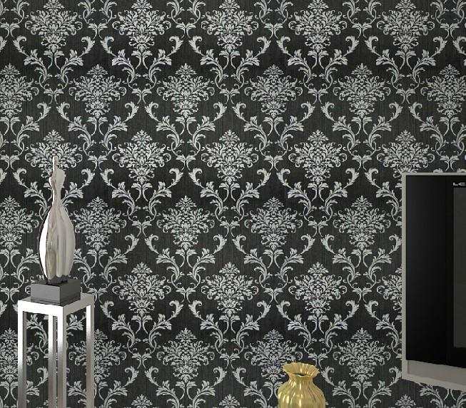 Pvc Glitter Black Silver Damask Wallpaper Background Wall Bedroom Wallpaper For Living Room Wall Papers Home Decor Wp036 Cellphone Wallpapers Cheap