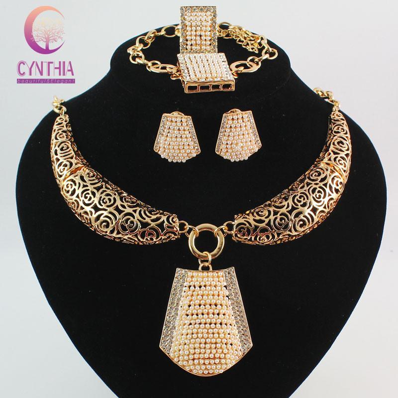 Мода Африканский Свадебные Наборы Бижутерии Для Женщин 18 К Позолоченный Кристалл Жемчужное Ожерелье Браслет Серьги Кольцо