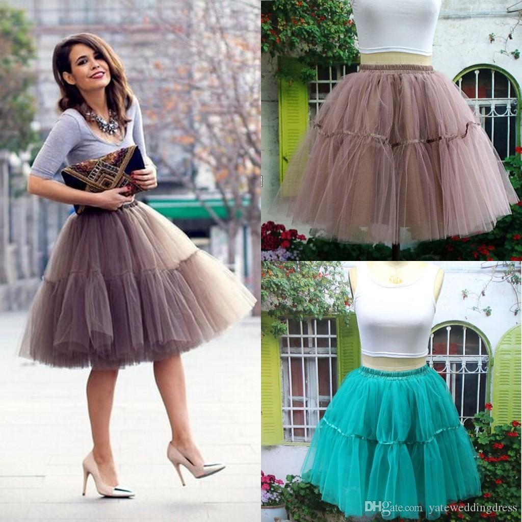 Винтажные юбки красочные 1950-х годов Стиль короткий мини-тюль TUTU юбки подборки эластичного пояса атласная полоса юных юбок для одежды