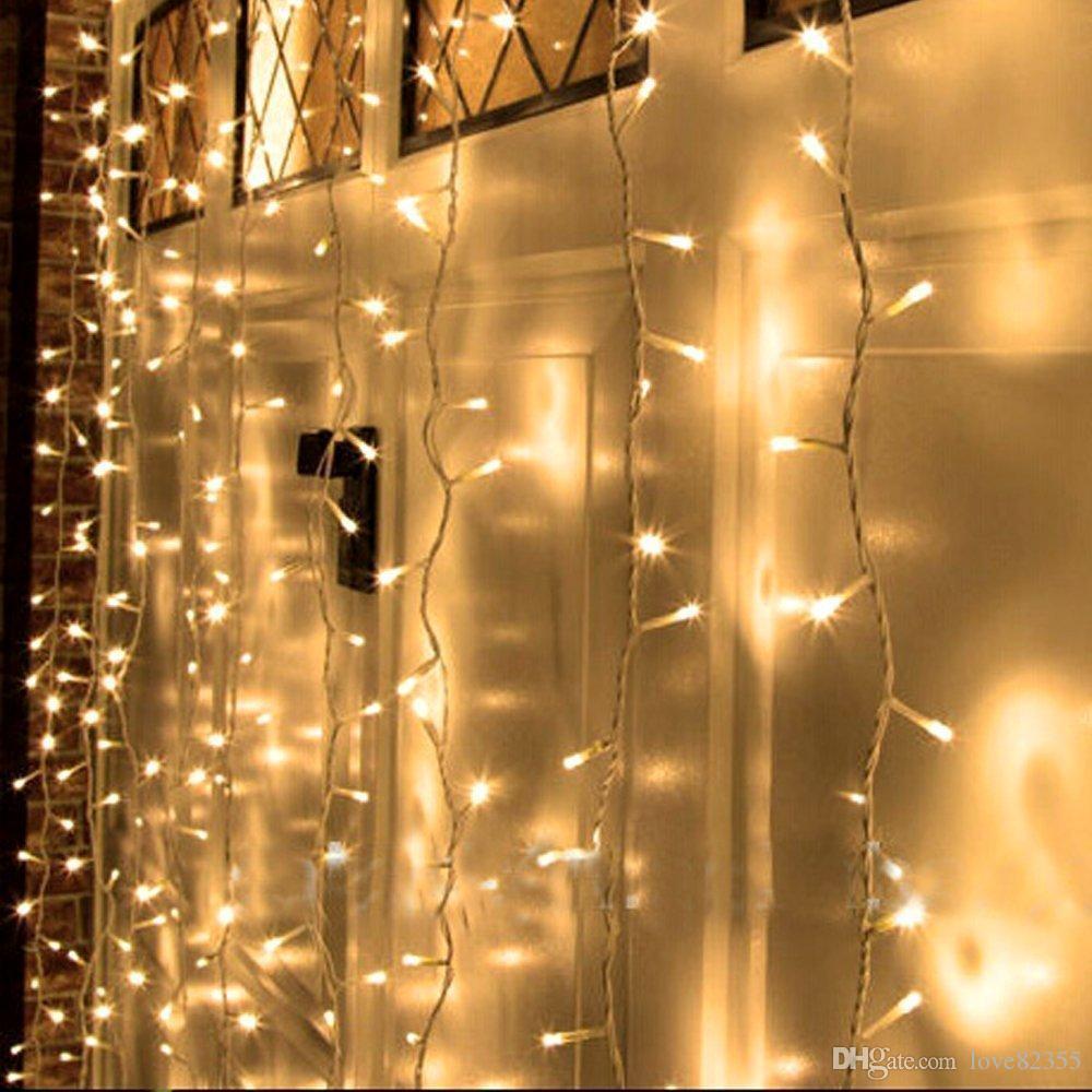 새로운 110V - 220V 5M 엑스 3M 500 LED 야외 파티 Xmas 문자열 요정 웨딩 커튼 라이트 8 모드 미국 영국 AU EU