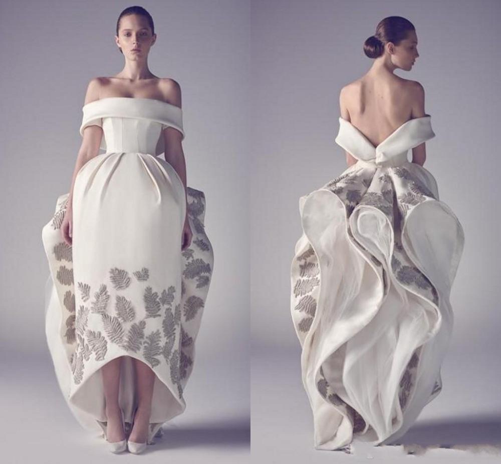 새 디자이너 아시 스튜디오 Emboridery 웨딩 드레스 숄더 2019 파티 드레스 새틴 패턴 플라워 브라 가운