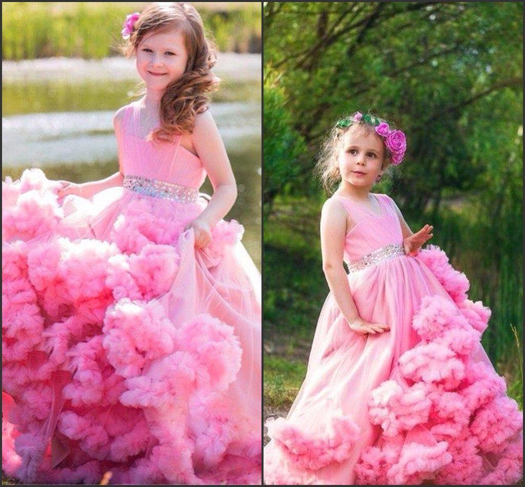 2016 핑크 사랑스러운 소녀의 미인 드레스 공주 구름 공 가운 주머지 얇은 구슬 벨트 벨트 아이 컵 케이크 파티 가운 BA0750