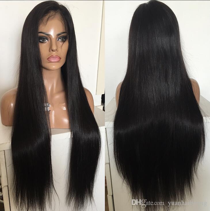 Venta caliente 10a calidad natural rayita peluca 130 densidad sedosa peluca de encaje recto peluca china del frente del cordón del pelo con el pelo del bebé envío gratis