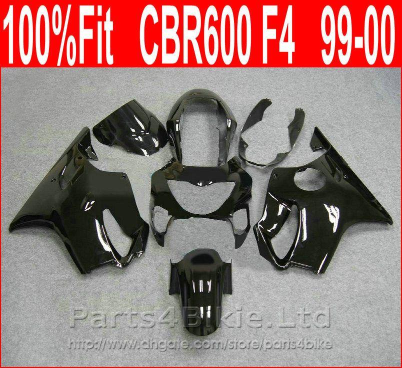 Carene motociclistiche nere lucide + 7Gift per Honda 99 00 CBR600 F4 kit carrozzeria CBR 600 F4 1999 2000 kit carena VOZY