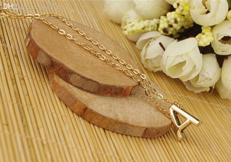 Оптовая продажа-шикарные женщины подарок позолоченные письмо имя начальной цепи кулон ожерелье Моды