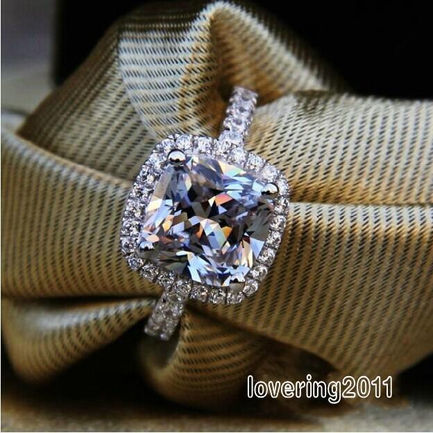 Victoria Wieck Sıcak Moda Zümrüt Kesim Beyaz Safir Benzetilmiş elmas 925 Gümüş Düğün Band Yüzük Sz 5-11 Hediye Ücretsiz kargo