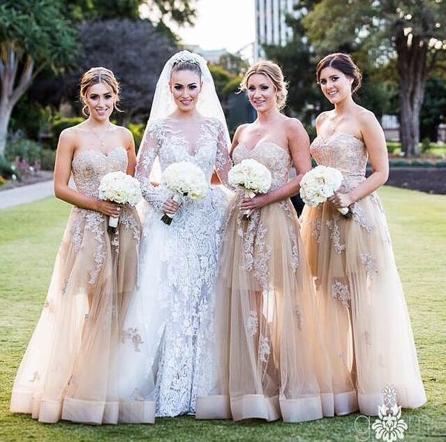 Romance Longo Ver Embora Vestidos de Dama de Honra 2016 Uma Linha Lace Apliques Querida Barato Partido Elegante Formal Vestidos