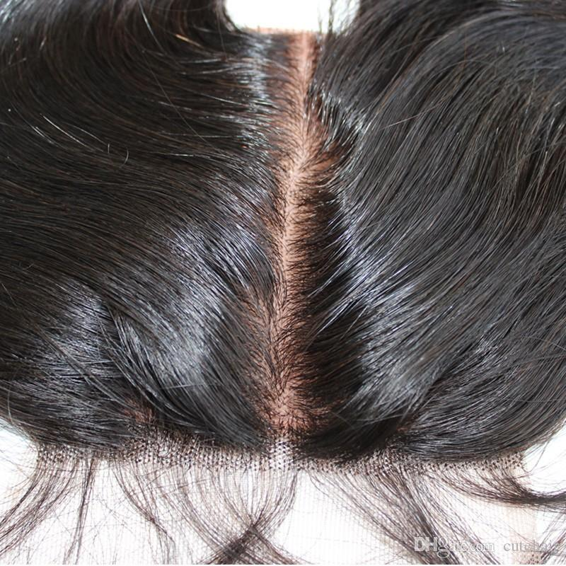 10A En ipek taban kapatma 4x4 bakire Brezilyalı saç dantel üst kapama işlenmemiş saç swiss dantel ağartılmış knot