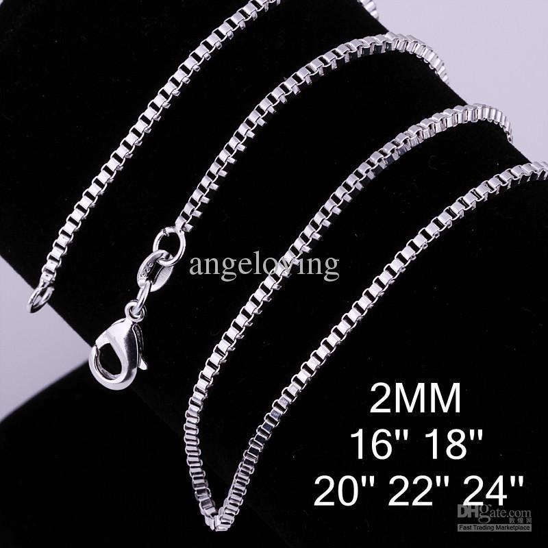 """Bijoux en argent 925 Collier en argent sterling 2mm Collier chaîne 16 """"/ 18"""" / 20 """"/ 22"""" / 24 """"100pcs"""
