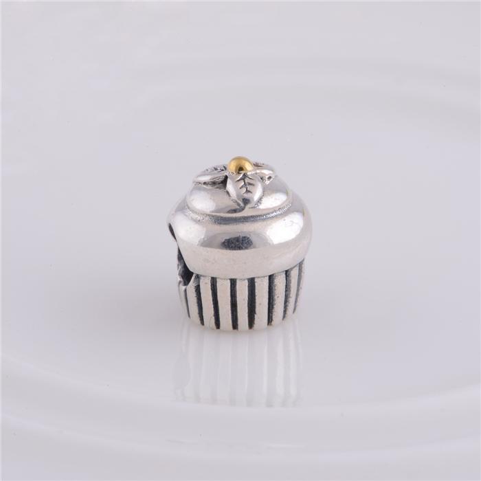 2016 Nieuwe 925 Sterling Zilveren Schroefdraad Cupcake Bead Geschikt voor Pandora Charm Armbanden Kettingen Europese Stijl Sieraden 1pc / lot Hot Sale