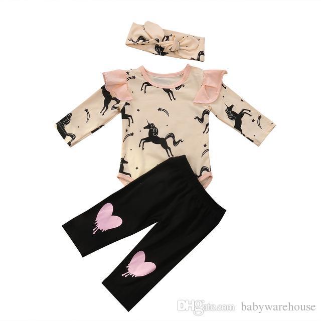 귀여운 2018 아기 옷 세트 긴 소매 유니콘 Romper + 하트 모양 바지 + 머리띠 3PCS 면화 아기 복장 유아 의류 아동 의류