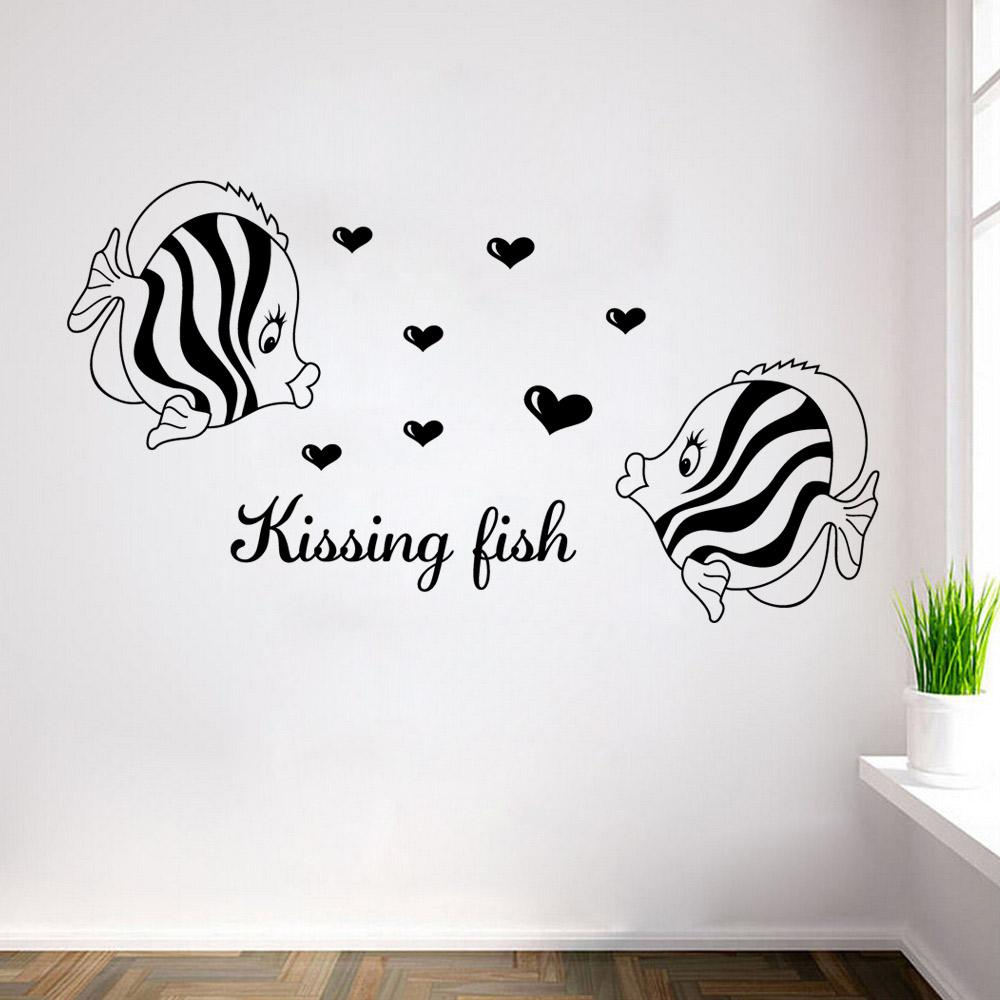 Kissing fish wall art mural poster decor home art wall decal kissing fish wall art mural poster decor home art wall decal sticker bathroom bedroom decoration wallpaper amipublicfo Images