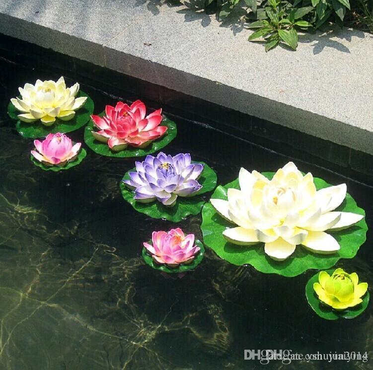 뜨거운 판매 !! 10 cm 직경 인공 연꽃 물고기 수영장에 대 한 물 풀에 떠있는 탱크 장식
