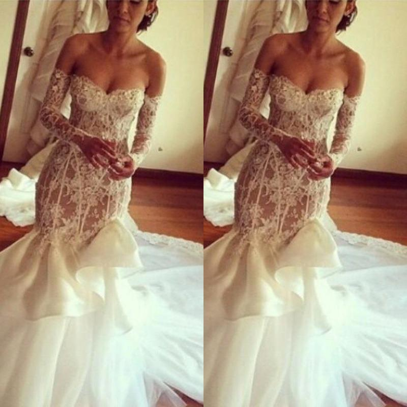 Sexy Low Sweetheart Lace Mermaid Wedding Dresses Off Shoulder Sheer Long Sleeves Bridal Gowns Chapel Train Backless Wedding Vestidos Mermaid Lace